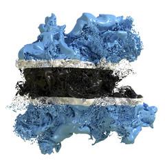 Botswana flag liquid