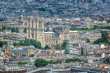 Wall Mural - Aerial view of Notre Dame cathedral renovation of the fire in Paris France