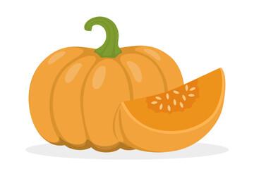 Orange pumpkin. Healthy and fresh organic vegetable.
