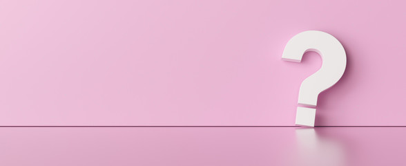 Question mark on pink wall background  - FAQ Concept image
