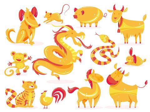 Set of golden animal