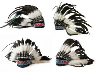 native cap of Indian with feathers and decorations