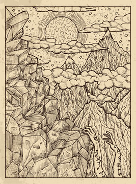 Mountain. Mystic concept for Lenormand oracle tarot card.