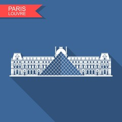 Louvre in Paris vector flat icon with shadow