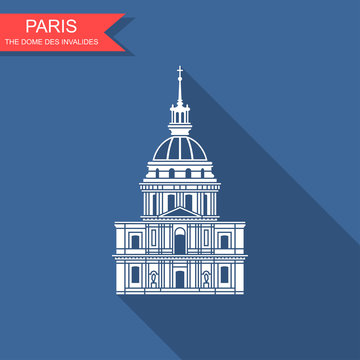 Image of the house of invalides in Paris. Flat icon with shadow
