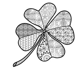 Clover good luck for coloring. Beautiful pattern. - Vector.