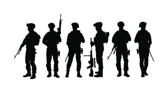 Army soldiers with sniper rifle on duty vector silhouette (Memorial Veterans day, 4th of July Independence day) Soldier keeps watch on guard. Rangers on border. Commandos team unit. Special force crew