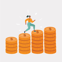 Woman running on coins