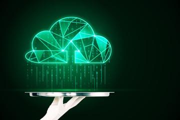 Fotobehang - Glowing green digital cloud