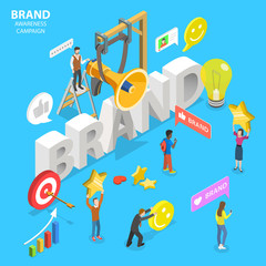 Isometric flat vector concept of brand awareness campaign, online branding and marketing, company digital promotion.