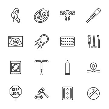 Obstetrics clinic flat line icons set. Abortion protest, baby ultrasound, embryo, fetus, pregnant woman, contraception vector illustrations. Outline medical signs. Pixel perfect 64x64 Editable Stroke