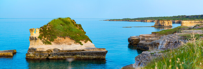 Holiday in Apulia. The important archaeological site and tourist resort of Roca Vecchia, in Puglia, Salento, Italy.