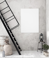 Mock-up poster frame in decorated room interior, Scandinavian style, 3d render