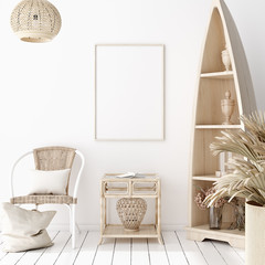 Mock-up poster frame in decorated room, Scandinavian style, 3d render