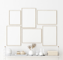 Mock up poster frame in living room interior. Interior Scandinavian style. 3d render