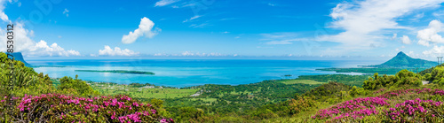Wall mural Panorama of the south coast of Mauritius island, Africa