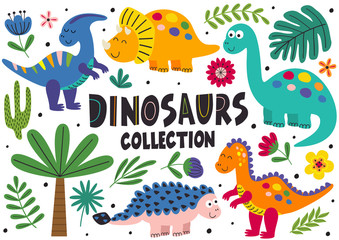 set of isolated cute dinosaurs part 2  - vector illustration, eps
