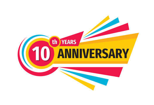 10 th birthday banner logo design.  Ten years anniversary badge emblem. Abstract geometric poster.