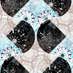 Seamless pattern patchwork design. Floral tiled print with mandalas. Watercolor effect. Suitable for bed linen, leggings, shorts and fashion industry.