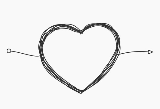 Hand drawn heart. Handdrawn rough marker hearts isolated on white background. Vector illustration for your graphic design.