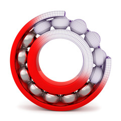 The red ball bearing. Cutted ball bearing on a white background.