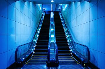 Escalator in an underground station in Tokyo - Japan