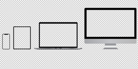 Realistic set of phone, tablet, laptop, pc with transparent screens. Vector graphic