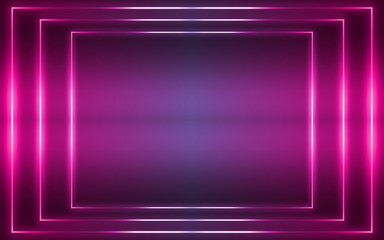 Dark abstract futuristic background. Neon lines, glow. Neon lines, shapes. Pink and blue glow