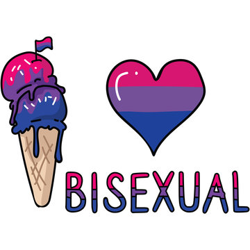 Cute bisexual ice cream cone cartoon vector illustration motif set. LGBTQ bi sweet treat elements for pride blog. Typography graphic for summer web buttons.