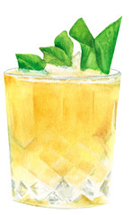 Watercolor illustration of a traditional alcoholic cocktail mint julep in a glass of old fashioned
