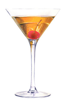 Watercolor illustration of a traditional Manhattan alcoholic cocktail in a Martini glass