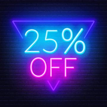 25 percent off neon lettering. Vector illustration