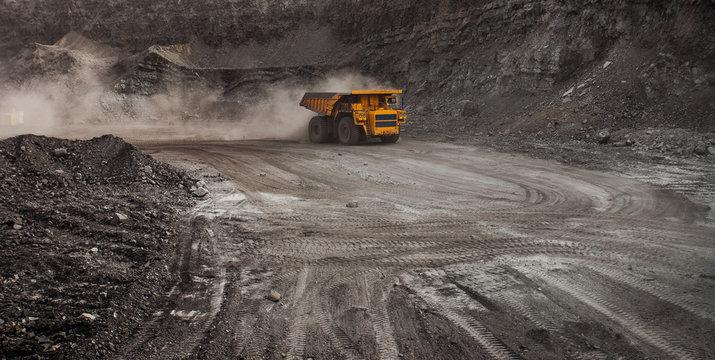 mining truck in a coal mine