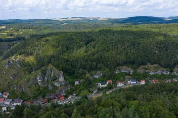Luftaufnahme von Pottenstein in der Fränkischen Schweiz