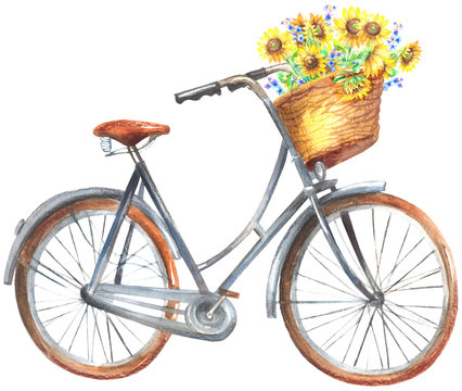 Bicycle With Sunflowers Basket