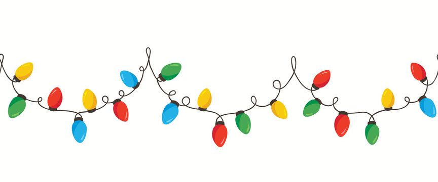 Vector Colorful Retro Holiday Christmas New Year Intertwined String Lights Isolated Horizontal Seamles Border Background