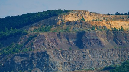 Stone-pit in Hungary. Photographed from Slovakia by the Danube.