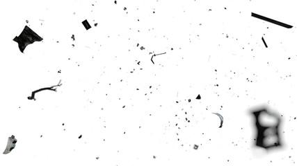 Obraz space debris in Earth orbit, dangerous trash isolated on white background  - fototapety do salonu