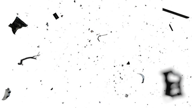 space debris in Earth orbit, dangerous trash isolated on white background