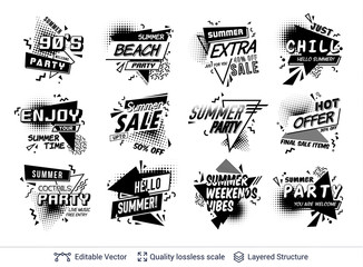 Set of summer ad text blocks in pop-art style.