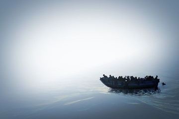 Illustration of a refugee boat on the sea in bright misty color and mysterious atmosphere.Hopeless people. 3D Render. Wall mural