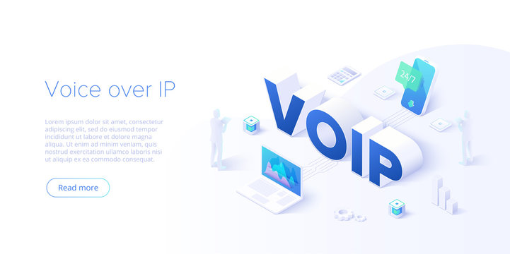 Voip isometric vector concept illustration. Voice over IP or internet protocol technology background. Network phone call software. Website layout template for web banners.