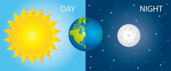 Sun Earth And Moon. Day And Night Vector Illustration II.