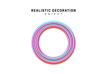 Round vintage frame Realistic shape 3d objects with gradient holographic color of hologram. Geometric decorative design elements isolated on white background. vector illustration. Fototapete