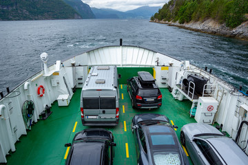 The Ferry transported cars on Dalsfjord in Norway.