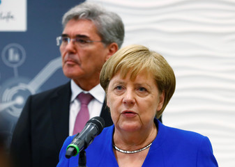 German Chancellor Merkel visits Siemens plant in Goerlitz