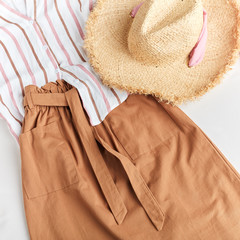 cowboy style in clothes, country stylish clothes for warm summer days. top view cropped photo
