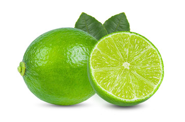 Fresh lime with leaf isolated on white background. full depth of field