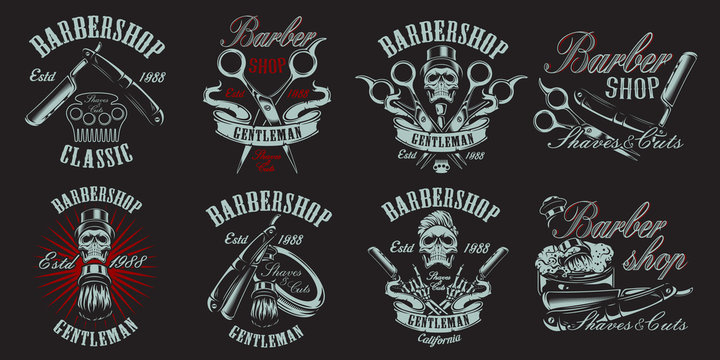 Set of illustration in vintage style for barbershop on the dark backround