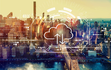 Cloud computing with the New York City skyline near midtown Wall mural